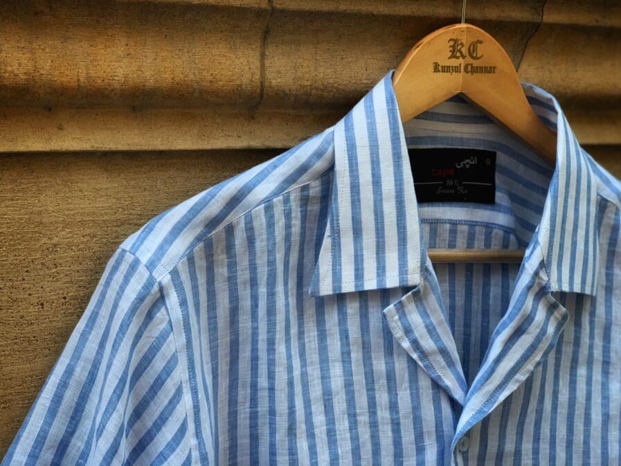 Light Blue Striped Coat Collar Shirt