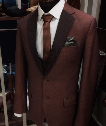 Pin Dot Brown Two Buttons Suit