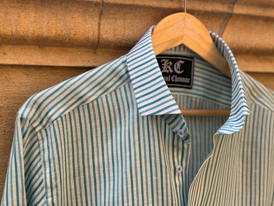 Sapphire & White Stripes Linen Shirt