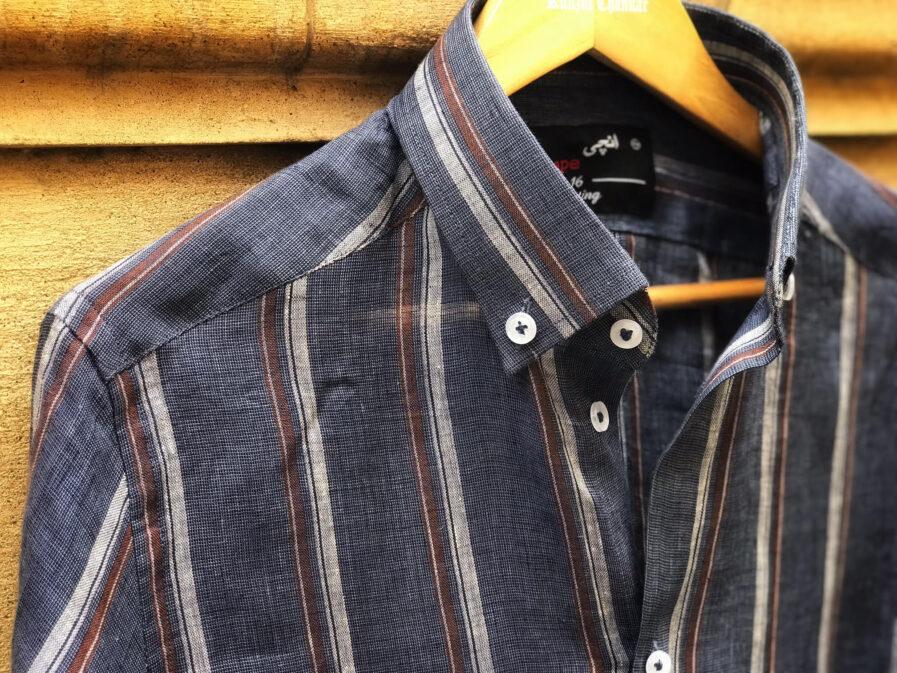 Dual Striped Blue Linen Shirt