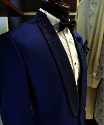 Pin Dot Blue Tuxedo Suit