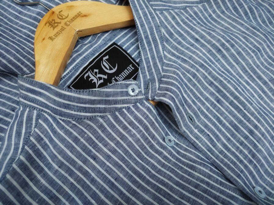 Blue & White Striped Mandarin Collar Linen Shirt