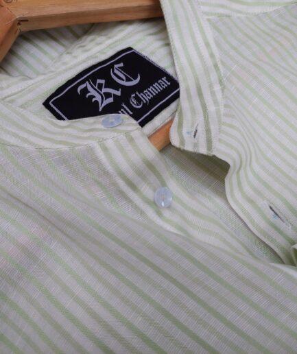 Green Striped Mandarin Collar Linen Shirt
