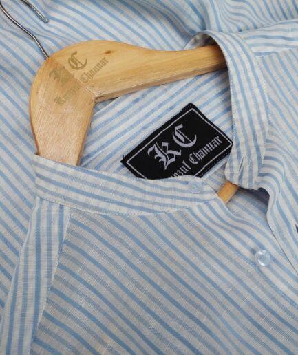 Blue Striped Mandarin Collar Linen Shirt