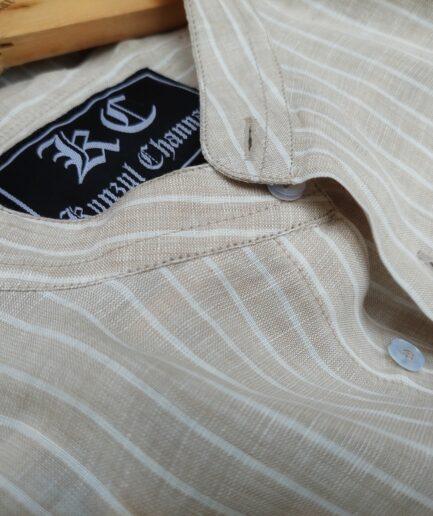 Tortilla Striped Mandarin Collar Linen Shirt