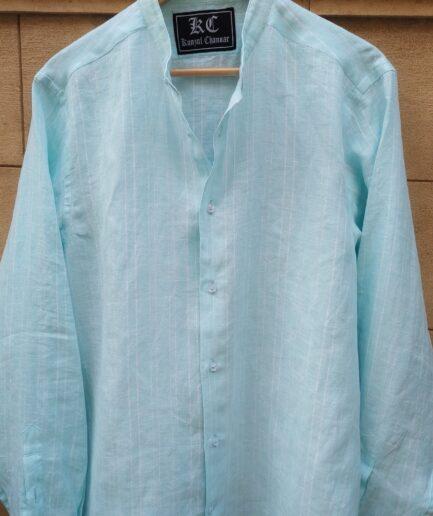 Sky Blue Striped Mandarin Collar Linen Shirt