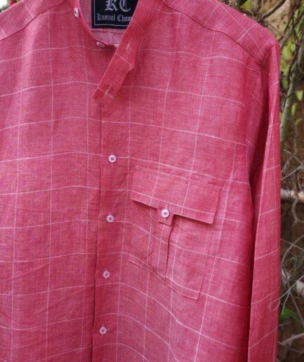 Biker's Collar Pink Linen Shirt