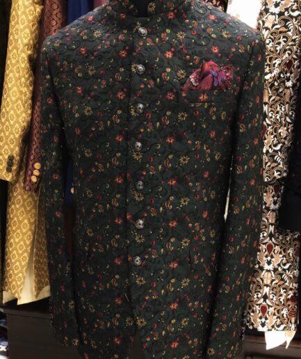 Bottle Green Multi Floral Prince Coat