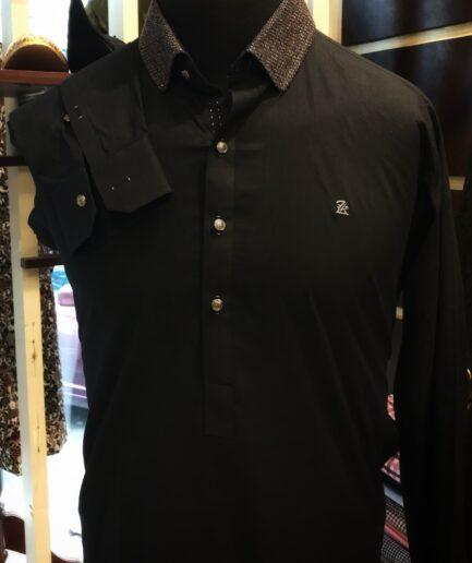 Black Duck Collar Kurta Trouser